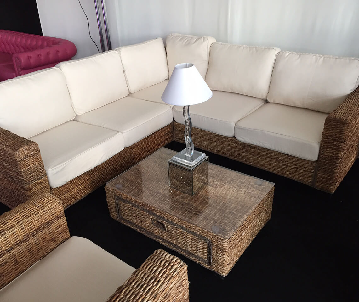 Indoor Natural Rattan Corner Sofa Furniture4events