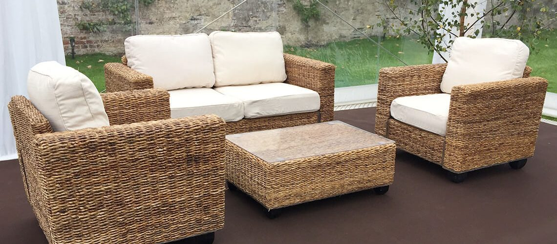 Indoor Natural Rattan Sofa Set - Furniture4Events