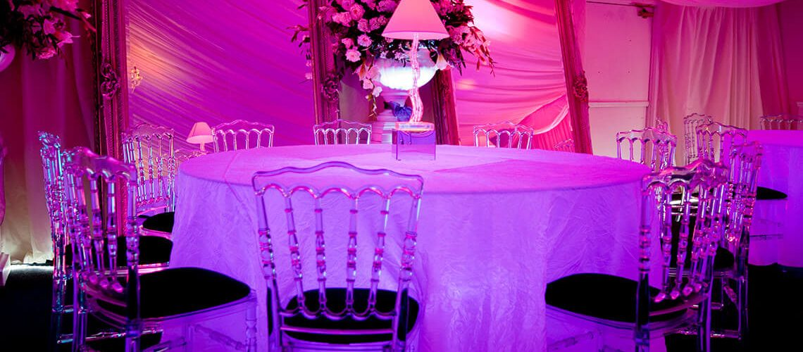 Ice Napoleon Chairs and LED Tables are a great combo for Winter events