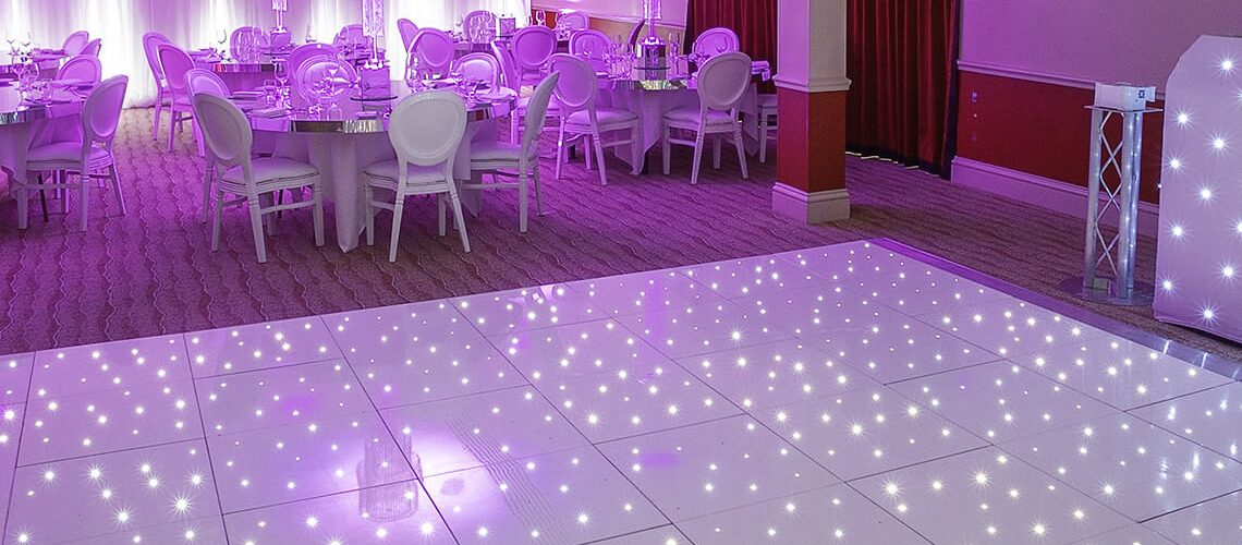 Create a glittering snow scene with the White Starlit LED Dance Floor - http://furniture4events.com/product/starlit-white-led-dance-floor/