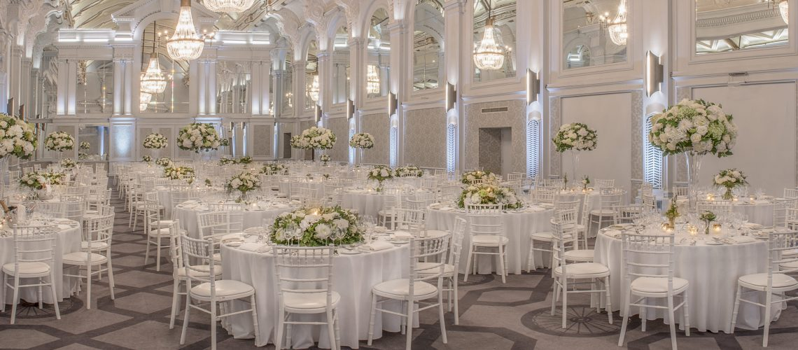 White Camelot Chairs grand hall setup