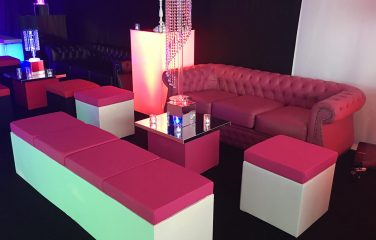 pink chesterfield and pink banquettes